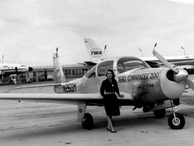 Jerrie Mock with N260M record plane